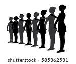 ballet dancers standing in a row   Shutterstock .eps vector #585362531