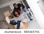 african american couple sitting ... | Shutterstock . vector #585365741