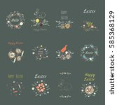 set elements with cute flowers  ... | Shutterstock .eps vector #585368129