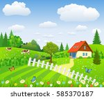 rural landscape with fields and ... | Shutterstock .eps vector #585370187
