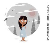 girl in the forest. | Shutterstock .eps vector #585372197