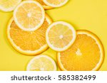 juicy citrus on a yellow