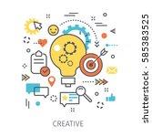 concept of creative. light bulb ... | Shutterstock .eps vector #585383525