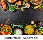 Asian Food Served On Black...