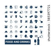 food and drinks icons  | Shutterstock .eps vector #585397721