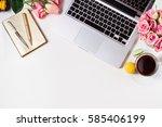 feminine workspace border with... | Shutterstock . vector #585406199