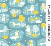 vector seamless cute dog... | Shutterstock .eps vector #585409421
