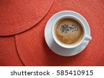 cup of coffee on the red orange ...   Shutterstock . vector #585410915