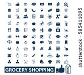 grocery shopping icons  | Shutterstock .eps vector #585411095