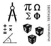 math icons set in black color... | Shutterstock .eps vector #585416381
