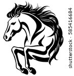 clip art of jumping horse with... | Shutterstock .eps vector #585416684