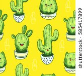 seamless pattern with cute... | Shutterstock .eps vector #585417899