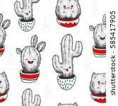 seamless pattern with cute... | Shutterstock .eps vector #585417905