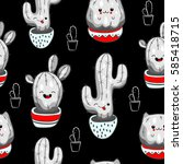 seamless pattern with cute... | Shutterstock .eps vector #585418715