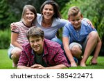 portrait of happy family... | Shutterstock . vector #585422471