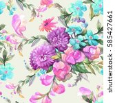 beautiful watercolor bouquet of ... | Shutterstock . vector #585427661