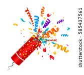exploding party popper with... | Shutterstock .eps vector #585437561