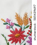 embroidered wild flowers | Shutterstock . vector #585439697