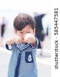 portrait of young sailor boy... | Shutterstock . vector #585447581