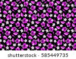 multicolored hibiscus pattern... | Shutterstock . vector #585449735