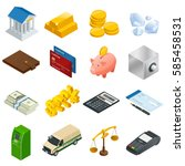 isometric business and finance... | Shutterstock .eps vector #585458531