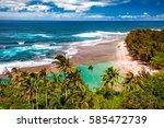 ke'e beach on the na pali coast ...   Shutterstock . vector #585472739