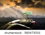 green plant in hand and... | Shutterstock . vector #585473531