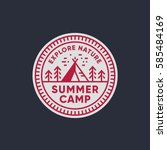 retro summer camp badge graphic ... | Shutterstock .eps vector #585484169