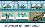 the restaurant is located in...   Shutterstock .eps vector #585488534
