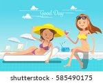 holiday of woman. service at... | Shutterstock .eps vector #585490175