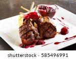 grilled restaurant food   rack... | Shutterstock . vector #585496991
