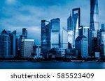landmarks of modern city... | Shutterstock . vector #585523409