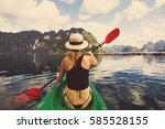 beautiful female wearing hat... | Shutterstock . vector #585528155