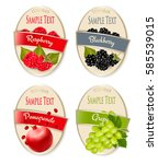 set of labels of berries and... | Shutterstock .eps vector #585539015