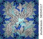 white doodles. radial gradient... | Shutterstock . vector #585545117