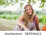Young Hippie Girl Wearing...