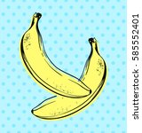 vector hand drawn banana with... | Shutterstock .eps vector #585552401