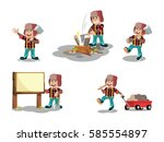 gorilla lumberjack cartoon set   Shutterstock . vector #585554897