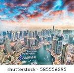 aerial view of dubai marina... | Shutterstock . vector #585556295