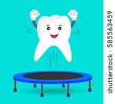 tooth character jumping on... | Shutterstock .eps vector #585563459