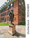 Small photo of YALE UNIVERSITY, NEW HAVEN, CONNECTICUT, USA - CIRCA 2015: Statue of Nathan Hale located in the old campus quad adjacent to student dorms.