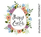 happy easter hand lettering... | Shutterstock .eps vector #585568067