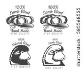 set of wool labels sheep and... | Shutterstock .eps vector #585568535