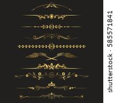 set of design gold elements and ... | Shutterstock .eps vector #585571841