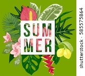 colorful summer background with ... | Shutterstock .eps vector #585575864