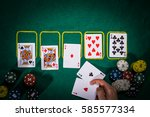 poker concept with cards on... | Shutterstock . vector #585577334
