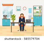 office workplace with table ... | Shutterstock .eps vector #585579704