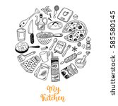 cooking doodles collection.... | Shutterstock .eps vector #585580145