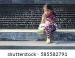 asian girl generation z use... | Shutterstock . vector #585582791