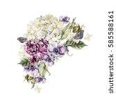 beautiful watercolor bouquet of ... | Shutterstock . vector #585588161